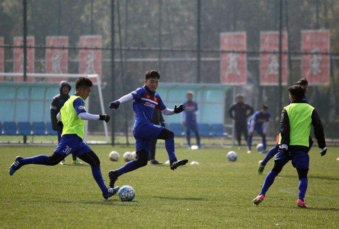 Vietnamese players are training in China. They will play Australia in the second round match of Group D at the Asian U23 Championship.(Photo: ​VFF)