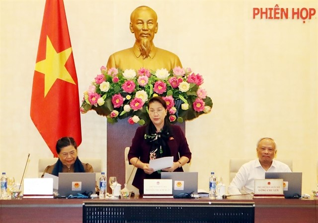 National Assembly Chairwoman Nguyen Thi Kim Ngan makes a speech at the closing ceremony of the 33rd session of the National Assembly Standing Committee. (Photo: VNA)