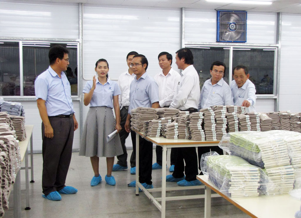 The provincial leaders met and learned about production and business activities at Songwol Vina Joint Stock Company (in Tan Duc Industrial Park)