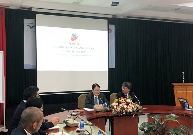 """At the seminar """"Regional Issues and Japan's Defence Policy"""" (Photo: baoquocte.vn)"""