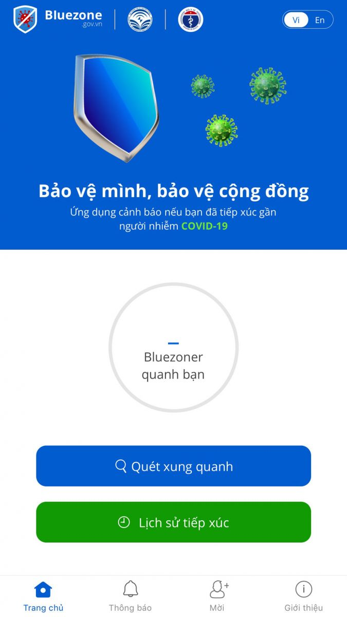 Bluezone application interface